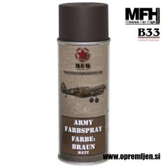 Vojaška barva sprej blatno rjava MUD BROWN mat RAL8027 400ml MFH - Max Fuchs by B33 army shop at www.opremljen.si