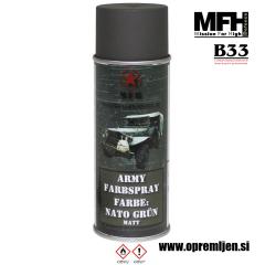 Vojaška barva sprej zelena NATO GREEN mat 400ml MFH - Max Fuchs by B33 army shop at www.opremljen.si