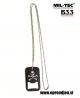 B33 army shop - odpirač kronskih zamaškov v obliki vojaške identifikacijske ploščice (dog tag) z verižico in motivom piratske mrtvaške glave, MILTEC, MIL-TEC, opremite se na www.opremljen.si (trgovina z vojaško opremo, vojaška trgovina)
