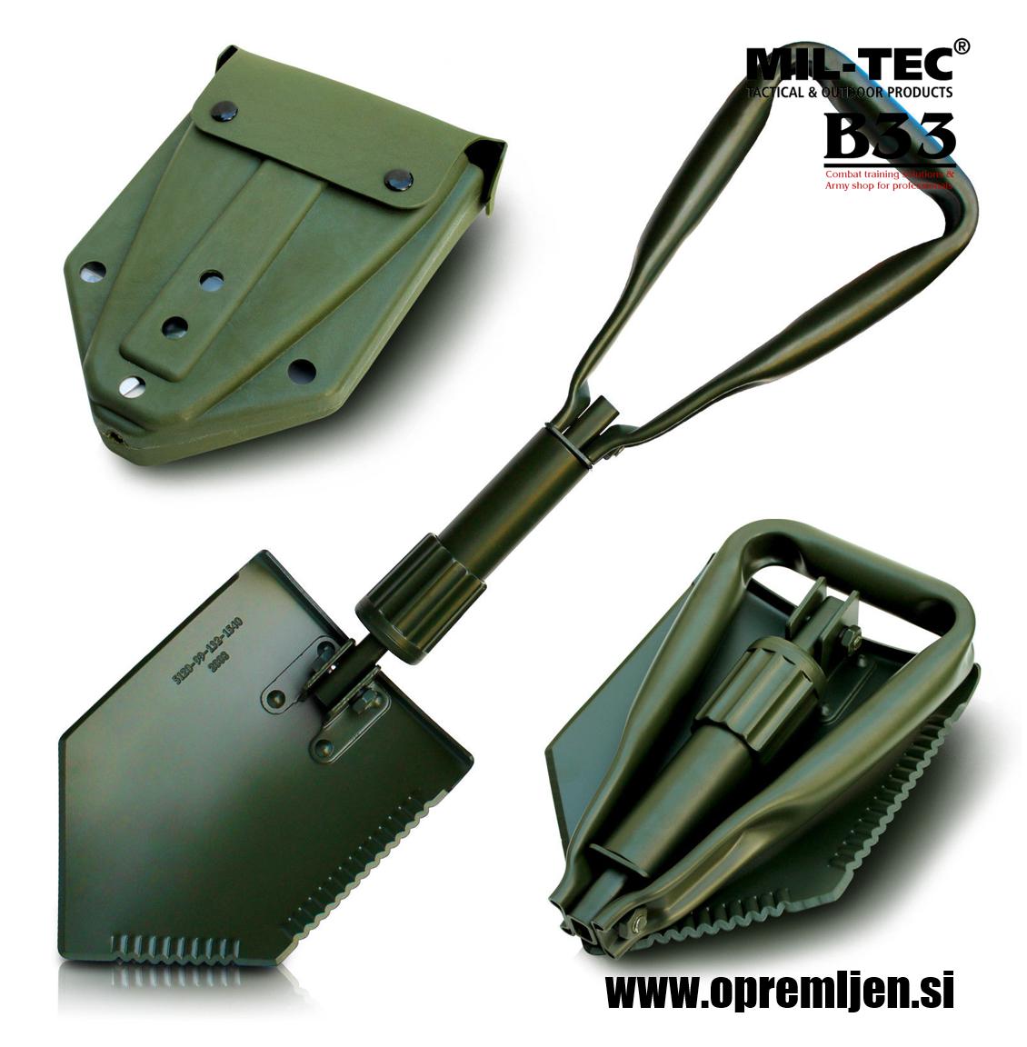 Profesionalna zložljiva vojaška lopata z robustnim tokom za namestitev na opasač ali nahrbtnik olivne barve MILTEC by B33 army shop at www.opremljen.si trgovina z vojaško opremo, vojaška trgovina