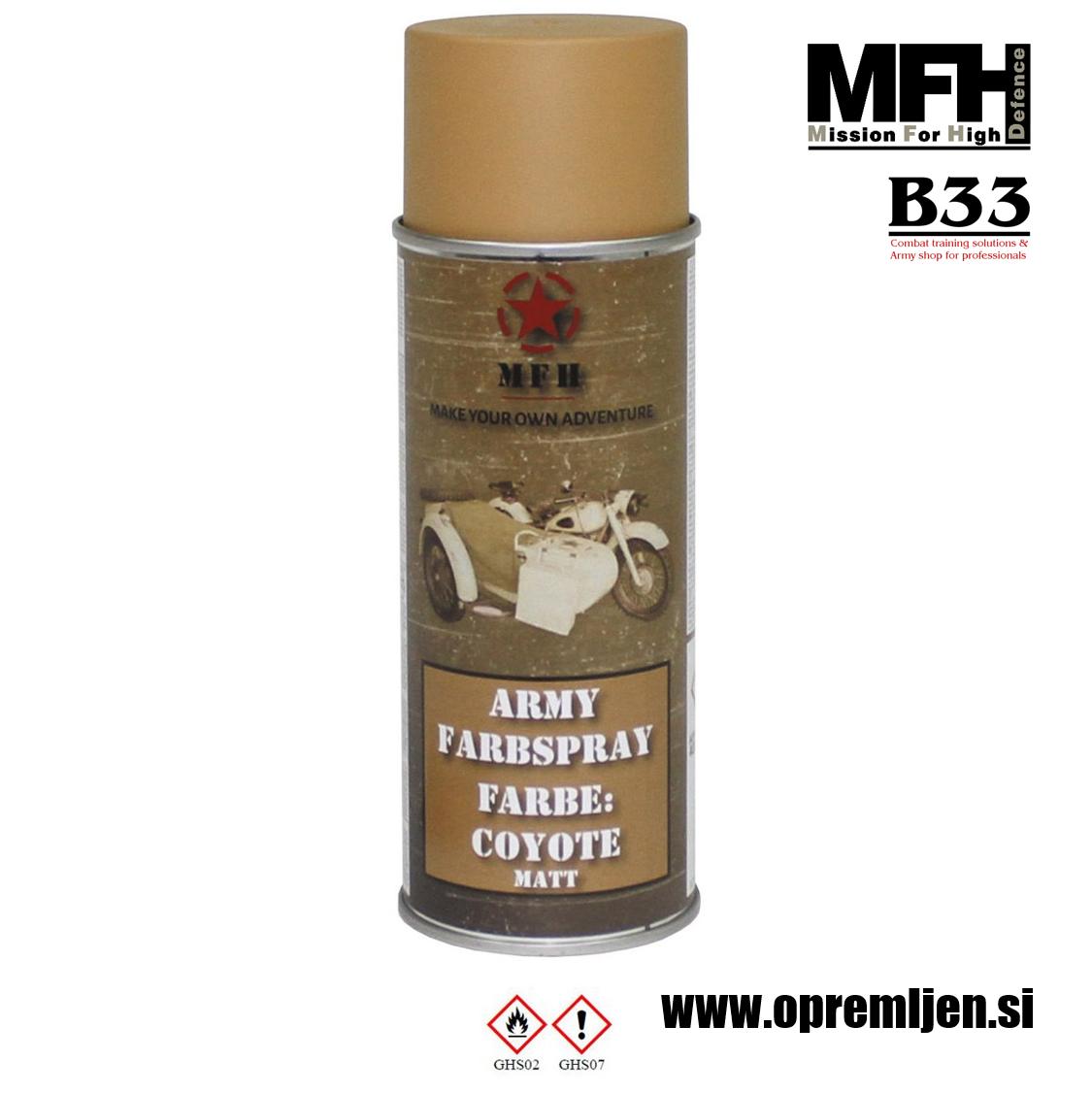 Vojaška barva sprej temno peščena COYOTE mat RAL1011 400ml MFH - Max Fuchs by B33 army shop at www.opremljen.si